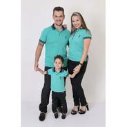 Pais E Filhos  Kit 3 Peças Camisas Ou Body Polo Verde Jade