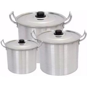 Jogo Caldeirão Alumínio Panela Grande Sopa Feijoada 26 28 32