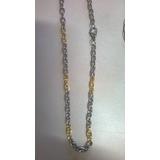 Cordão Corrente Aço Inox Masculino Dourado / Prata