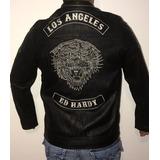 Hermoso Jacket Chaqueta Ed Hardy Original Garantizada Cuero