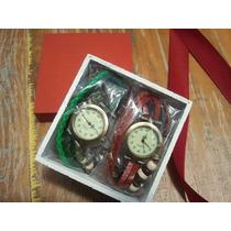 Kit 2 Relógios Vintage Feminino Em Couro + Brinde Exclusivo