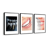 Quadro Mosaico Odontologia Dentista Com Moldura Dentes Decor