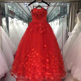Vestido Novia Xv Años Strapless Flores 3d Perlas Princesa