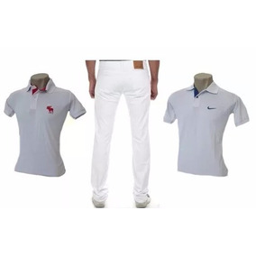 Uniforme Enfermagem Branco Masculino 1 Calça 2 Camisetas