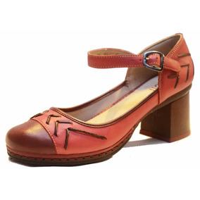 Zapato De Cuero Con Taco De Mujer, Diseño Exclusivo - Cj0001