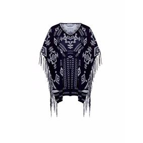 Sweter 03444 Poncho Capa Etnico Boho Flecos Envío Gratis