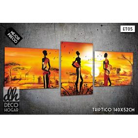 Cuadro Económico Triptico Moderno 140x52 Paisajes Africanos