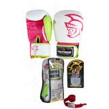 Kit Luva Branca E Rosa + Bandagem Verme + Protetor Pretorian