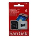 Cartão Micro Sd Sandisk 4g Com Adaptador Sd