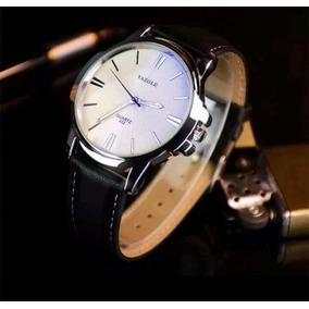 Relógio Masculino Pulso Quartzo Social Preta Branco Luxo