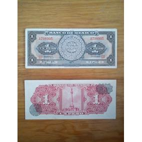 Lote De 5 Billetes Antiguos 1 Peso Calendario Azteca