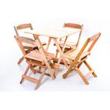 Jogos De Mesas Bar 60x60 Com 4 Cadeiras Dobrável Em Madeira