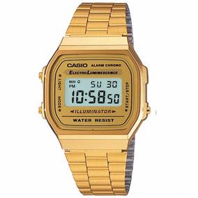Relógio Casio Unissex Social Retrô Digital Dourado Gold Rose