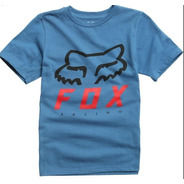 Remera Niño Fox Heritage Forger Celeste Motocross Atv Juri