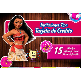 Invitaciones Infantiles, Tarjeta De Credito, Moana, Pawpatro