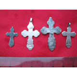 Lote 4 Crucifijos Antiguos De Plata
