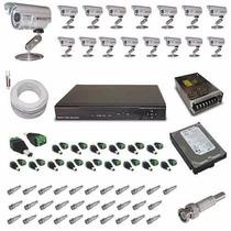 Kit 16 Câmeras Circuito Fechado De Tv Completo Com Dvr