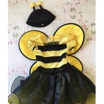 Fantasia Abelha Infantil Menina Carnaval Asa Importada Nova