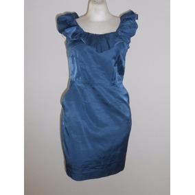 Laila Azhar Vestido D Fiesta Azul Con Olán En Cuello Talla 6