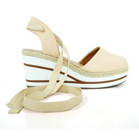 Sandália Anabela Feminina Plataforma Doma Shoes Creme Com Co