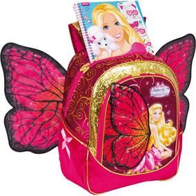 Mochila Escolar Barbie Butterfly Gd 3bolsos Rs Sestini Unid