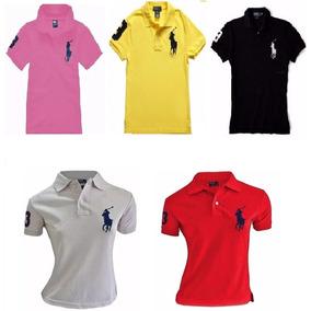 Kit 3 Camisa Camiseta Gola Polo Feminina Grife F Gratis