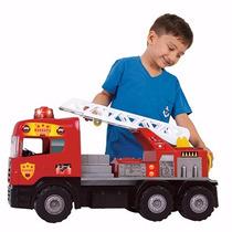 Caminhão Bombeiro Super Com Som E Luz De Resgate Magic Toys