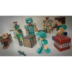 Minecraft Kit 12 Peças Articulados Som Luz - Frete Barato