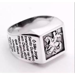 Anel De Prata 925 São Jorge Masculino C/ Oração