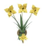 Arandela De Ferro Artesanal Rústica Varanda 3 Rosas Amarelo