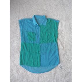 Camisa De Gasa Mangas Cortas De Mujer Verde Y Celeste