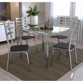 Conjunto Mesa Quadrada Vidro E 4 Cadeiras Alemanha Kappesber