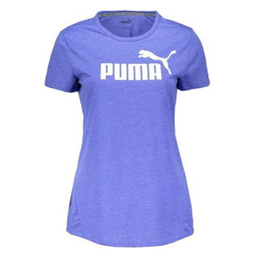 Camiseta Puma Essential No.1 Heather Feminina Azul Mescla