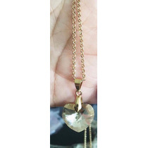 Cadena Oro Laminado Con Cristal Swarovski