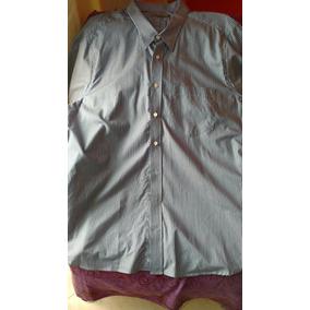 Camisa Manga Curta, Listrada Azul, Tam 8. Plus Size. Fascyni
