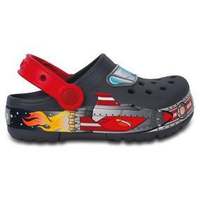 Zapato Crocs Niño Crocslights Galactic Clog Gris Con Luces