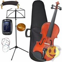 Violino Phantom Deval 4/4 Kit Partitura Afinador Espaleira