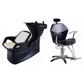Kit Barbeiro Cadeira Reclinável Hidráulica + Lavatório