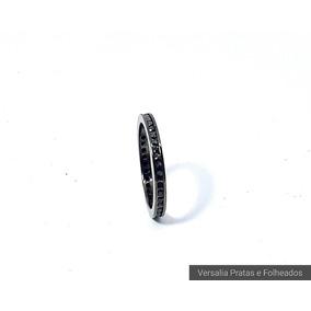3ee938e344d91 Anel Aro 22 Ródio Negro Com Zircônia Negra Outros Tipos - Anéis com ...