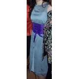 Vestido De Gasa Gris Con Faja De Tafeta Violeta