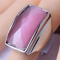 Anillo Acero Inoxidable Piedra Rosa Grande Talla 7 8 9 Djgsv