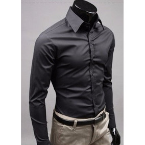 Camisa Slim Fit Hombre Caballero Moda Japonesa Casual Formal