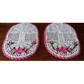 Par De Tapetes Em Crochê Oval Com Borda E Flor Varias Cores