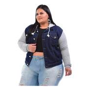 Jaqueta Jeans Com Moletom Feminina  Plus Size Com Capuz