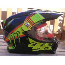 Capacete Cross Monster Com Viseira Valentino Rossi 46 Top