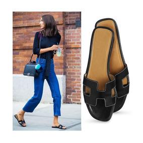 f9e87f18204 Sapato Hermes Sandalias Chinelos - Sandálias para Feminino Preto em ...