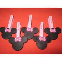 10 Broche Minnie - Mickey Decorado Porcelana Fría Con Imán