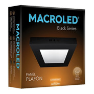 Macroled Panel Plafón Cuadrado Led 6w Cálido Black Npc06