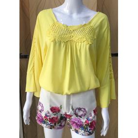 Blusa Camiseta Feminian Em Viscose Com Renda #340