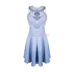 Vestido Casual Gode Renda Guipir Detalhe Diamante Perolado